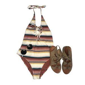 Billabong Striped One Piece Swimsuit open back S.